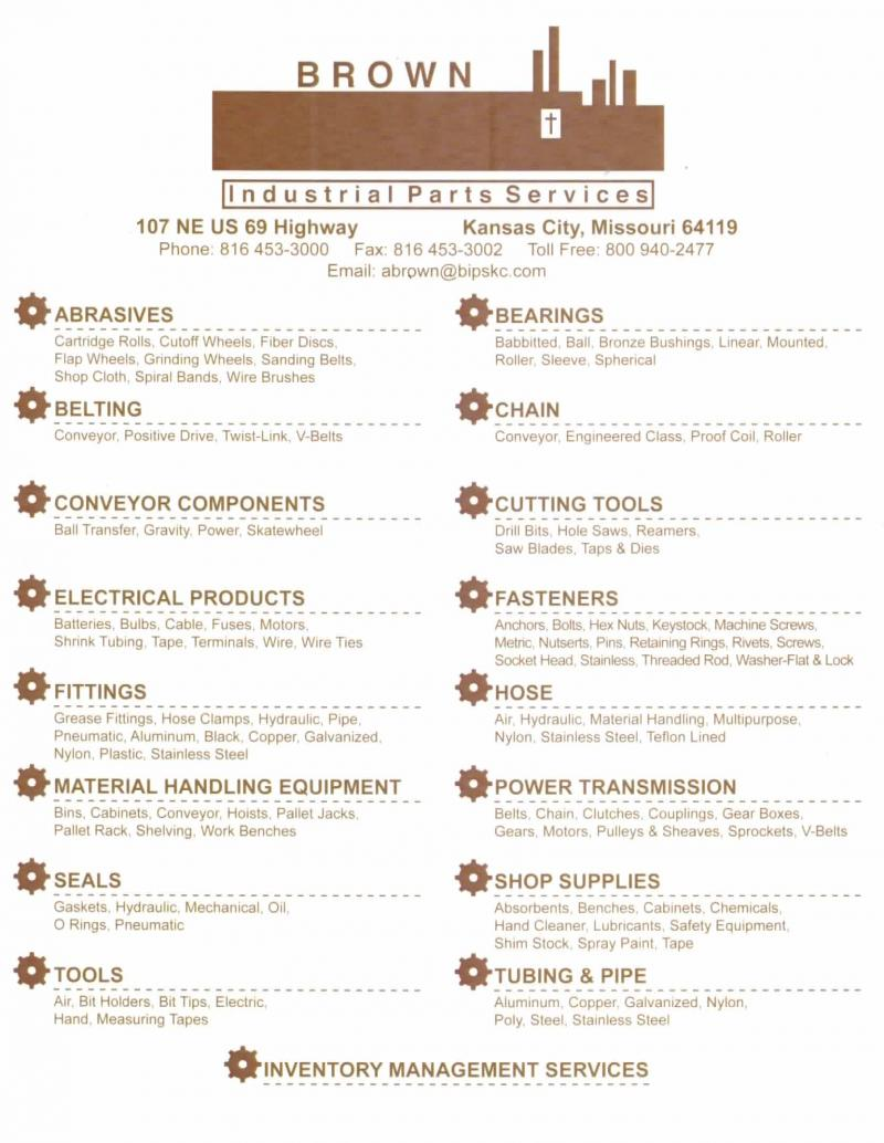 Brown Industrial Parts Services, Inc - Services